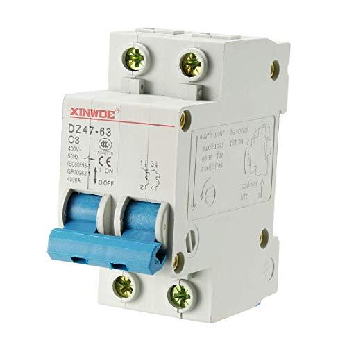 Din Mount Circuit Breaker (ZCHXD 2 Poles 3A 230/400V Low-voltage Miniature Circuit Breaker Din Rail Mount DZ47-63 C3)