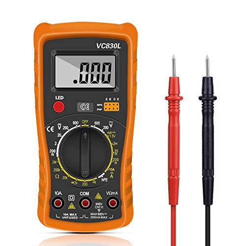 Digital Multimeter,Multimeter Voltmeter AC/DC Multi Tester,Digital Multimeter Messgerät mit LCD-Display Testet Dioden, Transistoren, Strom, Widerstand,Multimeter für Schule Labor Factory usw Multimeter Transistor-test