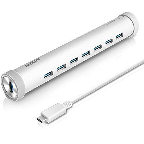 AUKEY HUB USB C a 7 porte USB 3.0 con Alimentatore di 5V 4A, Anelli di Gomma di 4 Colori ( Grigio, Blu, Verde, Arancio ) per i dispositivi USB Type C inclusi il nuovo MacBook, ChromeBook Pixel e altri (Alluminio Argentato)