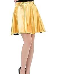 e5b2c0f2d5 Mxssi Falda Plisada Corta de Cintura Alta Falda Mujer Ropa de Baile  metálica Brillante