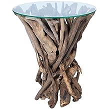 WMG, mesa auxiliar de madera con cristal redondo