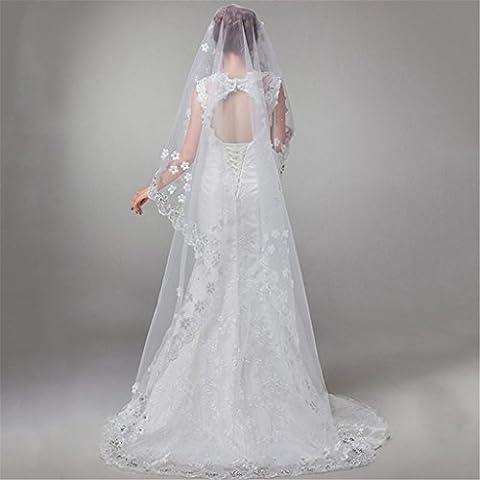 HY-FHLJ Braut Schleier Frau Europa und die Vereinigten Staaten verlängerte Spitze Diamant Blumen Schöne Schleier Braut heiraten Hochzeit Schleier