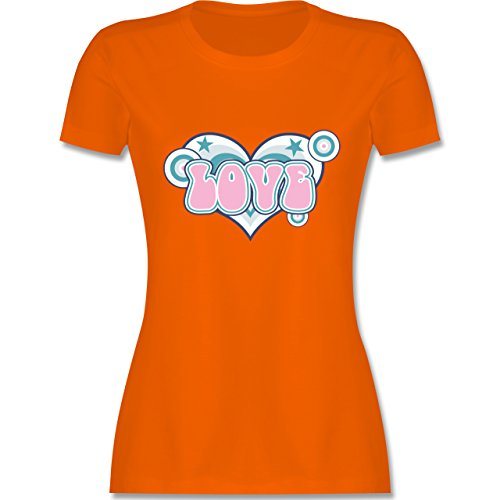 Romantisch - Love - tailliertes Premium T-Shirt mit Rundhalsausschnitt für Damen Orange