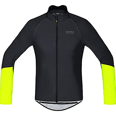 GORE BIKE WEAR 2 in 1 Herren Soft Shell Rennrad-Jersey, GORE WINDSTOPPER, POWER WS SO Zip-Off Jersey, Größe: M, Schwarz/Neon Gelb, SWZOPO
