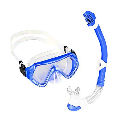Sporzin Schnorchelset Kinder mit Tauchmaske und Schnorchel Anti-Beschlag Taucherbrille Anti-Leck Tauchmaske 6/12 Jahre (Blau)