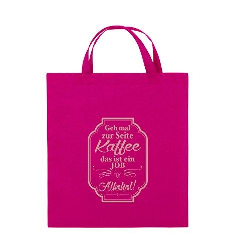 Comedy Bags - Geh mal zur Seite Kaffee das ist ein Job für Alkohol! - Jutebeutel - kurze Henkel - 38x42cm - Farbe: Schwarz / Silber Pink / Rosa
