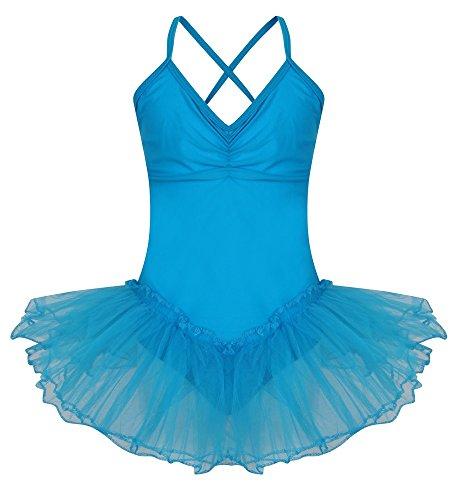 MÄDCHEN GYMNASTIKANZUG DANCE FAIRY TUTU BALLERINA KOSTÜM PARTY ANZUG, ROSA, PINK, GRÜN, ROT, WEISS, GELB, BLAU) 3 BIS 9 JAHREN GYMNASTIKANZUG Türkis-Blau 7-9 Jahre (Blaue Kostüm Ballerina)