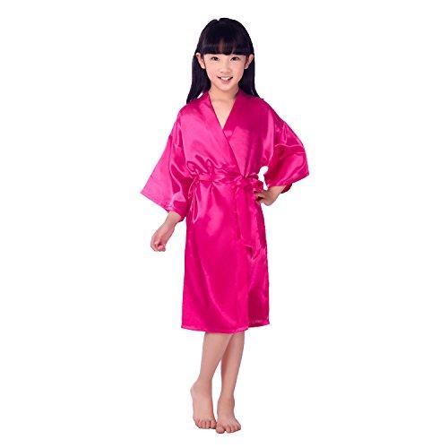 Honeystore Kinder Mädchen Morgenmantel Satin Bademantel Nachtwäsche Kimono Abend Robe Negligee Seidenrobe reine Farbe Fuchsie 12# (Perlen Mit Seiden-camisole)