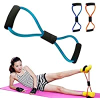 KRITAM Chest Expander Resistance 8 Type Muscle Chest Expander Rope Workout Pulling Exerciser Fitness Exercise Tube Sports Yoga for Men and Women - Multi Color