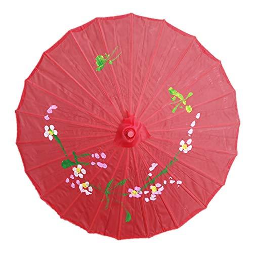 czos88 Regenschirm-Öl-Papier-traditioneller tragbarer dauerhafter Bambushochzeits-Sonnenschirm Farbiger Foto-Stützen-chinesischer Tanz-Kunst-Dekoration(Rot)