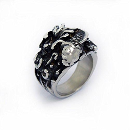 Chirurg Fisch (HIJONES Herren Retro Stil Titan Stahl Ring Fisch Muster Größe 68 (21.6))