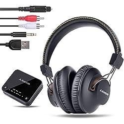 Avantree HT4189 Casque TV Sans Fil avec émetteur Bluetooth, Ecouteur Bluetooth pour Télévision, Support Optique, RCA, 3,5 mm AUX, Audio USB PC, Plug & Play, Sans latence, 30M LONGUE PORTÉE