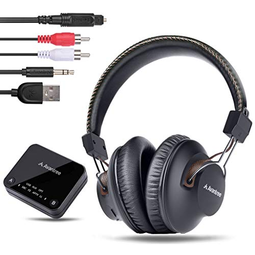 2018 Avantree HT4189 Kabellose Kopfhörer für Fernseher mit Bluetooth Transmitter, Unterstützt Optisch, RCA, 3.5mm AUX, PC USB Audio, Plug & Play, No Delay, 30m HOHE REICHWEITE 40 Std. Akku thumbnail