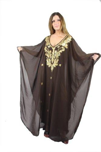 Egypt Bazar Abaya Fijo Vestido de Gasa Transparente, Talla única: M hasta XXXL, en diseños marrón/Dorado Talla única: Medium hasta XXX-Large (42-60)