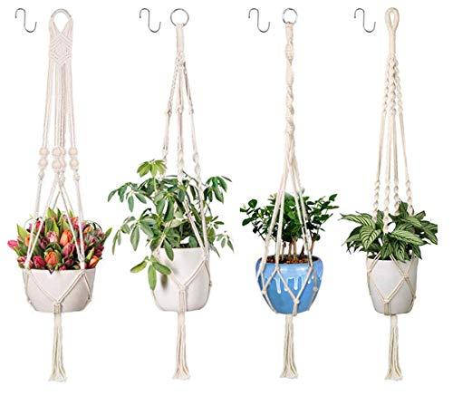 Emooqi Makramee Blumenampel, Baumwollseil Hängeampel Blumentopf Robust Makramee Pflanzenhalter Blumenampel|4 Beine 41 inch|Handgewebt|Pflanzenhänger für Balkon Gartendekor -4er