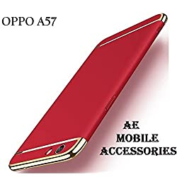 AE Mobile Accessories 3 in 1 Hard Plastic PC Electroplate Matte Back Cover for Oppo A57 - Red