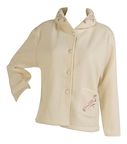 Slenderella Ladies Soft Polar Fleece Button Up Bed Jacket Floral Embroidered Detail House Coat (Various Colours) - 41M 2B1eViP1L - Slenderella Ladies Soft Polar Fleece Button Up Bed Jacket Floral Embroidered Detail House Coat (Various Colours)