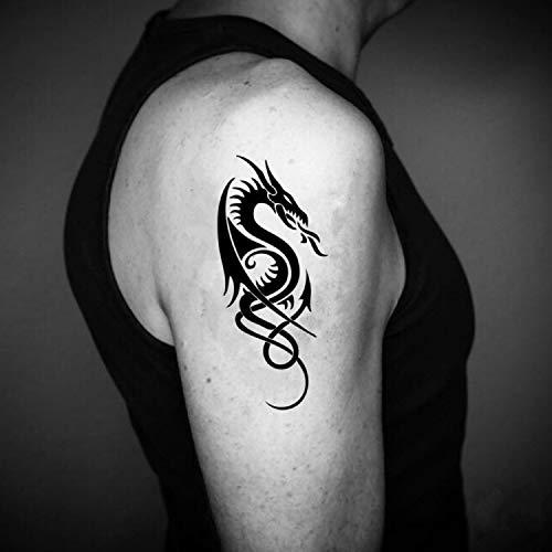 Dragón celta etiqueta engomada falso temporal del tatuaje (Juego de 2) - www.ohmytat.com