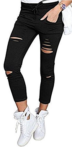 Live it style it pantaloni jeggings skinny da donna elasticizzati, strappati black medium