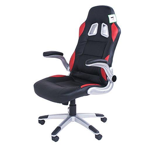 Sedia da ufficio girevole, sedia girevole da ufficio in pelle, colore: nero, impugnatura ergonomica imbottita per PC gaming sedie con braccioli, altezza regolabile nero
