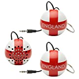 KitSound Mini Buddy England THREE PACK Loud Wired Speakers Portable & Rechargeable with Universal 3.5mm Audio Jacks, 36mm Drivers and USB Charging Cables Compatible with Smartphones, Tablets & More