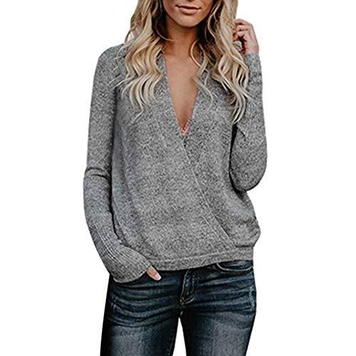 Btruely Pullover Damen V-Ausschnitt Winter Herbst Loose Fit Sweatshirt Gestrickte Langarmshirt Plüsch Jumper Langarm Hausbekleidung