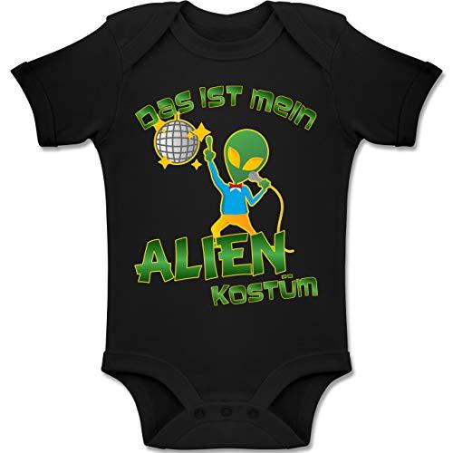 Karneval und Fasching Baby - Das ist Mein Alien Kostüm Disco - 6-12 Monate - Schwarz - BZ10 - Baby Body Kurzarm Jungen Mädchen (Disco Tanzen Kostüm Mädchen)
