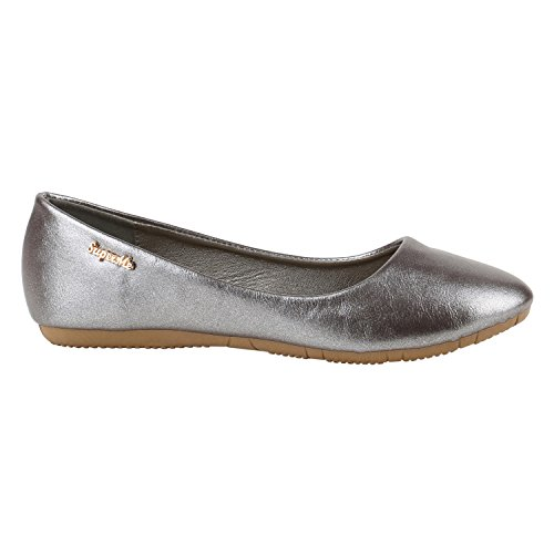 Klassische Damen Ballerinas Lederoptik Flats Basic Slipper Grau Metallic