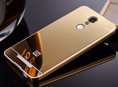 Kaira Mirror_redminote3_2 Luxury Metal Bumper Acrylic Mirror Back Cover Case For Xiaomi Redmi Note 3- Gold