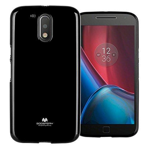 Mercury Marlang Moto G4 Hülle, Moto G4 Plus Hülle/Gratis Displayschutzfolie [Slim Fit] TPU Case [Flexible] Pearl Jelly [Schutz] Bumper Cover für Motorola MotoG4 / G4Plus, schwarz -