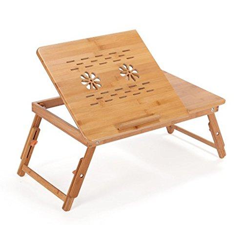 Corlorfulword 55 x 35 cm Laptoptisch Beistelltisch Knietisch Betttisch Notebook Lese Tisch aus Bambus - verstellbar Bambus (2F-K-55)