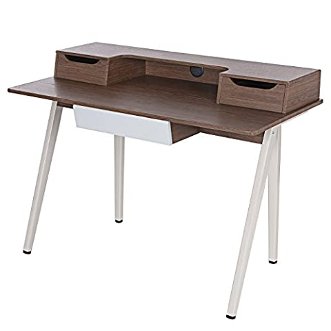 Songmics Writing Desk Computer Workstations Board and Stable Steel Structure with 3 Drawers 120 x 59 x 87 cm (W x D x H) MDF Walnut