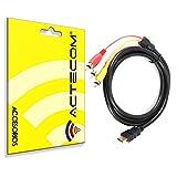 ACTECOM Cable HDMI A 3 RCA Video Y Audio Consola PS3 PS2 TELEVION TV Imagen 1,5 Metros Chapado Oro