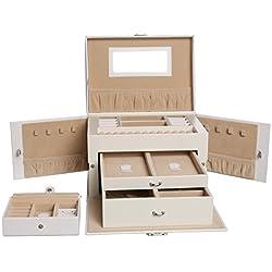 Levivo - Joyero para relojes, anillos y collares (múltiples compartimentos, cajones y cajita adicional), blanco