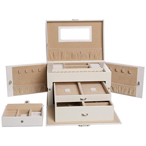Levivo-Joyero-para-relojes-anillos-y-collares-mltiples-compartimentos-cajones-y-cajita-adicional-blanco
