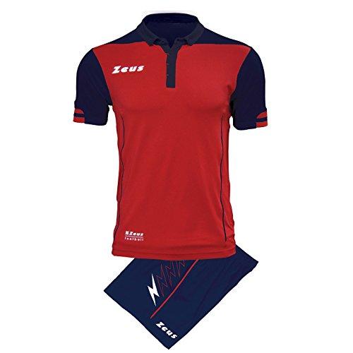 Zeus Kit Aquarius Herren Trikot Shirt Hosen Klein Armel Kit Fußball Hallenfußball (XL, BERNSTEIN-SCHWARZ) ROT-BLAU