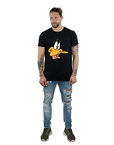 Looney Tunes Herren Daffy Duck Face T-Shirt Schwarz