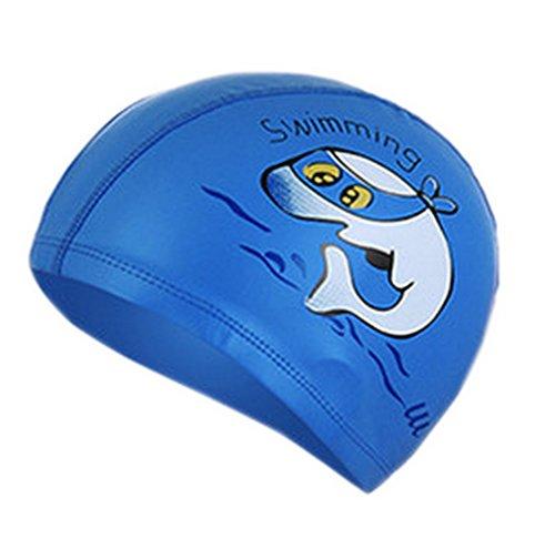 Z-linda PU Impermeable Gorros de Natación Infantil Niños Unisexs Nadar Protección de Orejas (Delfín Azul Oscuro)