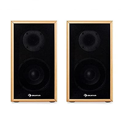 AUNA Line 300-SF-BH Passive Hifi Bookshelf Speakers (2 x 35W RMS, Low Res Wood Cabinet & Gold Plated Speaker Connections) Beech by Auna