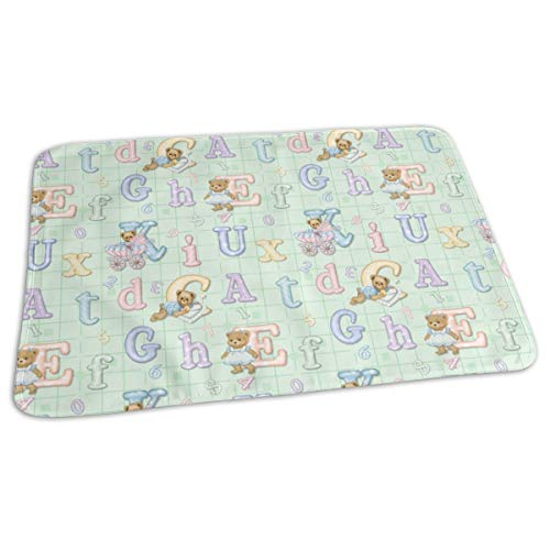 Teddy Tots Alphabet - Mint Green Baby Portable Reusable Changing Pad Mat 19.7x 27.5 inch