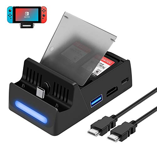 HEYSTOP Kompatibel mit Nintendo Switch TV Docking Station mit HDMI Kabel,Tragbarer Ladeständer HDMI 4K Adapter für Nintendo Switch mit USB 3.0 und Type C(Stores 4 Games)