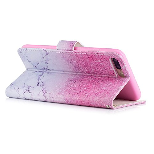 Custodia iPhone 7 Plus, Cover iPhone 7 Plus, ikasus® iPhone 7 Plus Colorato verniciato Custodia Cover [PU Leather] [Shock-Absorption] Protettiva Portafoglio Cover Custodia colore puro con Super Sottil Sabbia rosa di marmo