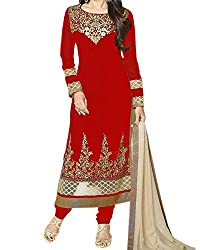 Kapadewala Women's Georgette Semi-Stitched Salwar Suit (KAP-KK Red_Red)
