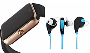 MIRZA Bluetooth GT08 Smart Wrist Watch & Bluetooth Headset for LG k5(Jogger Bluetooth Headset & GT08 Smart Watch Wrist Watch Phone with Camera & SIM Card Support Hot Fashion New Arrival Best Selling Premium Quality Lowest Price with Apps like Facebook,Whatsapp, Twitter, Sports, Health, Pedometer, Sedentary Remind,Compatible with Android iOS Mobile Tablet-Assorted Color)
