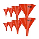 DEDC Gas Funnels Plastic Funnel 2 Set of 8 for Car Oil Gas Fluids Automotive Kitchen Mini Small Large Red