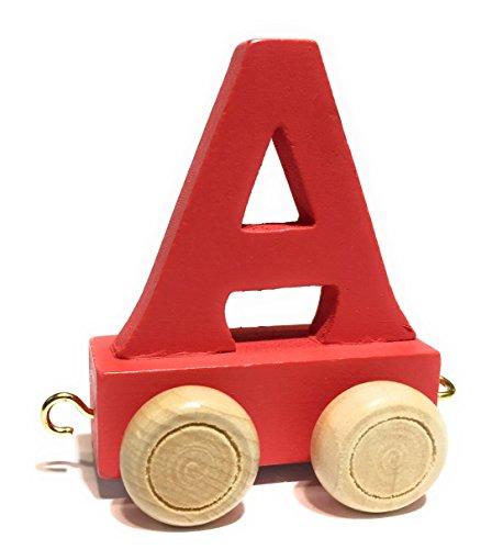 Buchstabenzug bunt | bunte Lok - farbige Waggons | Wunschname zusammenstellen | Holzeisenbahn | EbyReo® Namenszug aus Holz | personalisierbar | auch als Geschenk Set (Farbe Rot, Buchstabe A)