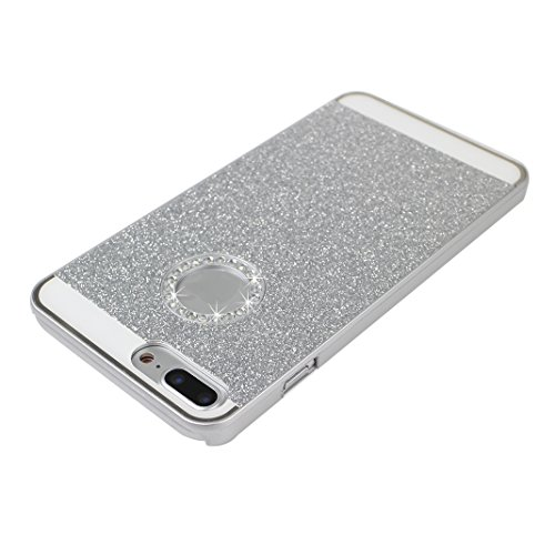 iPhone 7 Plus Hülle Glitzer, Rosa Schleife Ultra Dünn PC Hart Cases BackCover Crystal Glitzer Schutzhülle Handyhülle Bumper Schale für iPhone 7 Plus Silber
