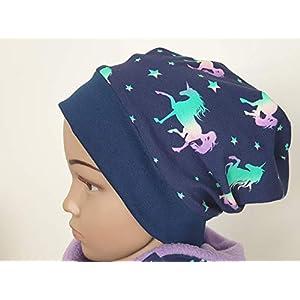 Mütze Beanie Fleece - Einhorn Pferde - Kinder Mädchen lila, blau