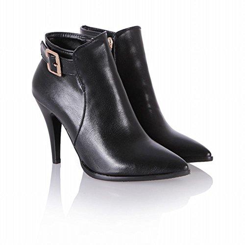 Mee Shoes Damen kurzschaft Reißverschluss high heels Ankle Boots Schwarz