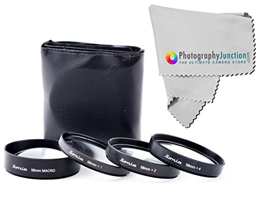 Sonia 58mm Close-up Filter Macro Kit With 4 Lenses + Free Photography Junction Micro Fiber Cloth for Canon EF 24mm f/2.8 IS USM, Canon EF 28mm f/2.8 IS USM,  available at amazon for Rs.2439